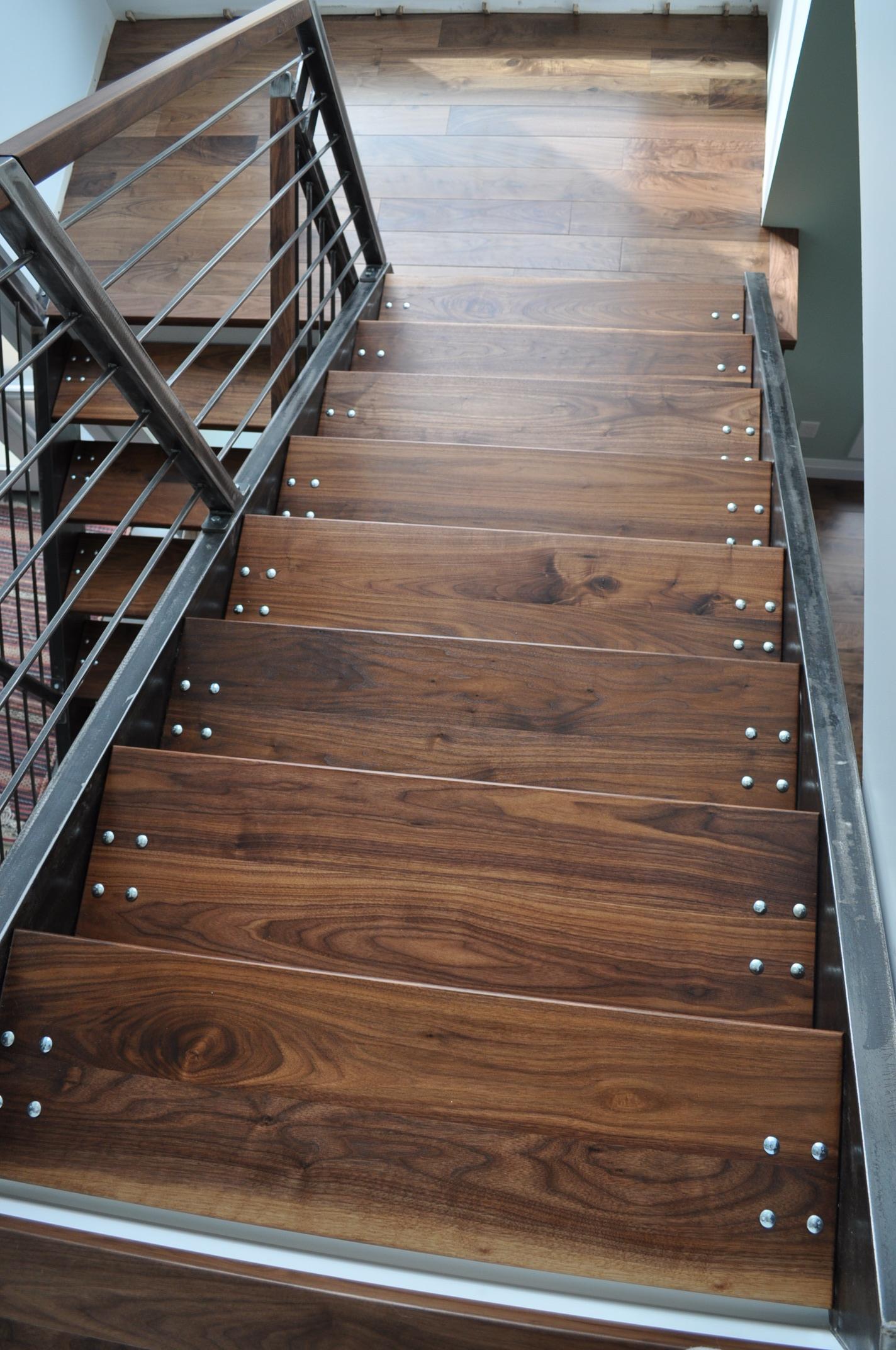 Custom Stairs Iron Stairs Black Walnut Treads
